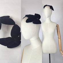 Load image into Gallery viewer, Original 1950's Black Velvet Headpiece - With Fabulous Bow Shaping