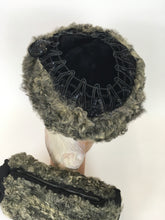 Load image into Gallery viewer, Original 1940s Gorgeous Hat & Muff 2pc Set - In a Lovely Grey Astrakhan and Black Velvet with Trim