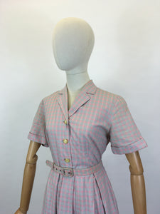 Original 1950's Darling Cotton Day Dress - In A Muted Pink & Grey Check