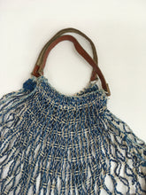 Load image into Gallery viewer, Original 1930's / 1940's Blue and White String Bag with Leather Handles - A Fabulous Piece Of Nostalgia