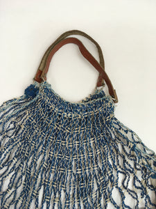 Original 1930's / 1940's Blue and White String Bag with Leather Handles - A Fabulous Piece Of Nostalgia
