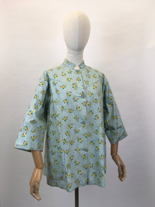Original 1950s Smock Made By ' Country Reg'd ' - In a Lovely Contrast Floral and Stripe in Soft Greens, Blues and Buttercup Yellows