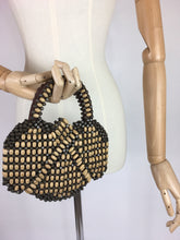 Load image into Gallery viewer, Original 1940's Wooden Beaded Bag - In 2 Tone Brown Wooden Beads