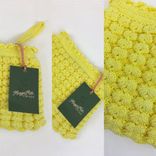 Load image into Gallery viewer, Original 1940s Popcorn Knitted Handbag - In a Glorious Sunshine Yellow