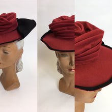 Load image into Gallery viewer, Original 1940's Felt Topper Hat - In a Raspberry Red with Black Detailing