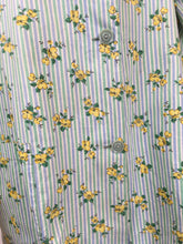 Load image into Gallery viewer, Original 1950s Smock Made By ' Country Reg'd ' - In a Lovely Contrast Floral and Stripe in Soft Greens, Blues and Buttercup Yellows