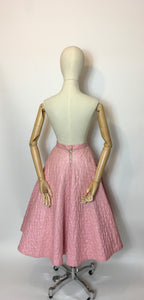 Original Darling 1950's quilted full circle skirt - In a Cute pink featuring black embelished Butterflies