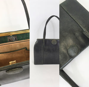 Original Late 1940's Dark Green Leather Handbag - By ' Finnigans Label of London '