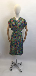 Original 1940's STUNNING Floral Rayon Wrap Dress - Beautiful Waterfall Hip Swag