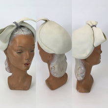 Load image into Gallery viewer, Original 1959's Ivory Felt Hat - With Diamanté Paste Embellishment to The Big Bow Front