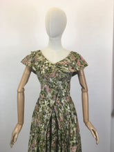 Load image into Gallery viewer, Original 1950's Stunning Silk Party Frock - In A Beautiful Pink & Green Floral