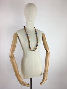 Original 1930s Multistrand Necklace - In Contrasting Wooden and Glass Beads