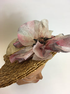 Original 1940's Summer Open Crown Straw Hat - With Original Floral Adornment