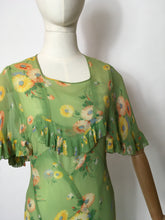 Load image into Gallery viewer, Original 1930's Bias Cut Gown In An Exquisite Colour Pallet of Deco Green, soft blues, oranges and yellows - A Festival Of Vintage Fashion Show Exclusive