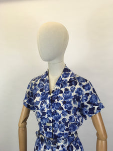 Original 1950's Cute ' St.Michael ' Day Dress - In A Lovely Blue & White Floral Cotton