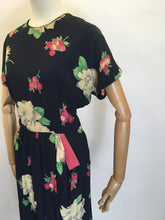 Load image into Gallery viewer, Original 1940's Stunning Floral Rayon Dress - Darling Whimsical Colour Pallet