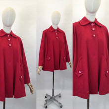 Load image into Gallery viewer, Original Late 1940's Raspberry Red Swing Jacket - With Stunning Detailing