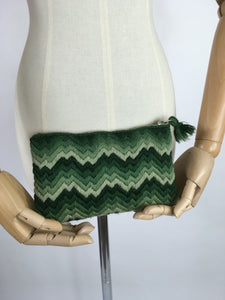 Original 1930s Clutch Bag - In a Lovely Wool in Tones of Green with A Chevron Pattern