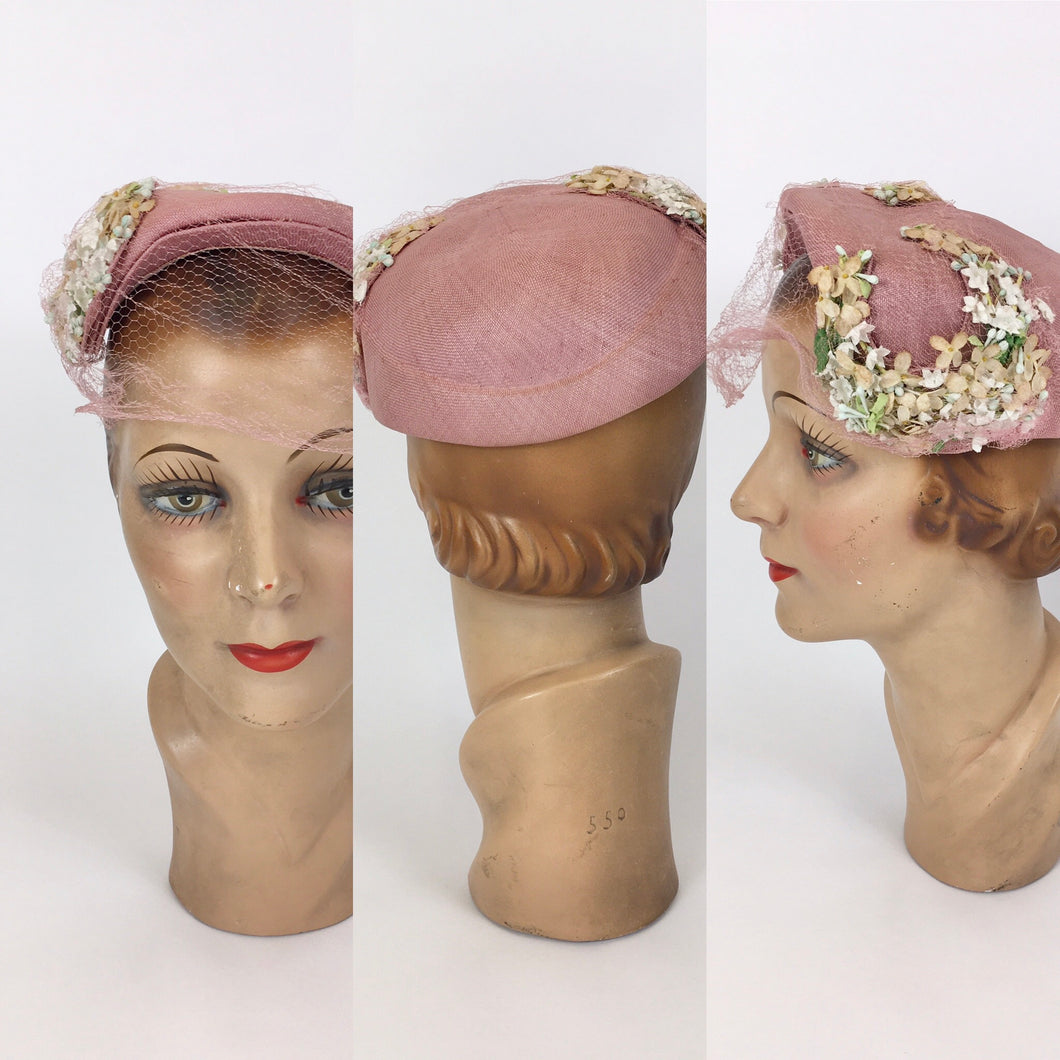 Original 1940's Darling Powdered Rose Pink Hat - With Veiling and Beautiful Millinery Flower Embellishments