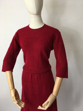 Load image into Gallery viewer, Original 1940's Knitted Dress - In a Beautiful Raspberry Red Colour