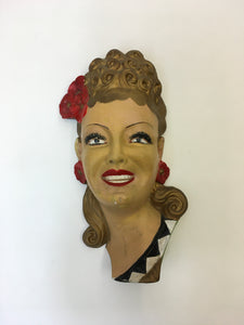 Original 1950's Ladies Head Wall Mask - Great For A Vintage Interior