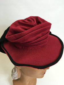 Original 1940's Felt Topper Hat - In a Raspberry Red with Black Detailing