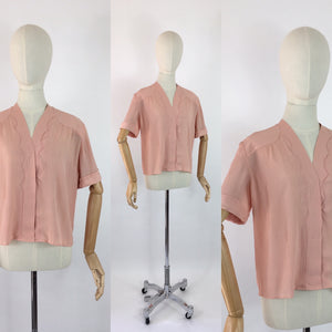 Original 1940's Dusky Rose Crepe Blouse - Made By the Fabulous Debenham and Freebody