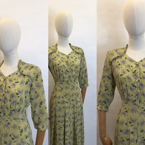 Original 1940's Floral Day Dress - In a Beautiful Floral Crepe With a Warm Summer Colour Pallet