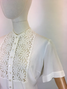 Original 1940's ' Judy Bond' White Blouse - With Stunning Floral Lace Detailing To The Bodice Panel