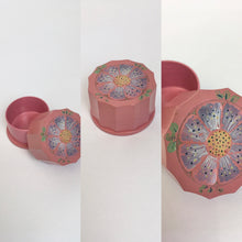Load image into Gallery viewer, Original 1930s Celluloid Dressing Table Pot - With a Floral Motif In soft Lilac, Muted Yellow and Grassy Greens