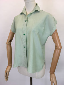 Original 1950's Green & White Striped Blouse - By ' Em Cooper ' Label
