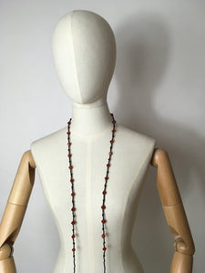 Original 1920s Flapper Glass Beaded Necklace - Fabulous Red & Black Colours