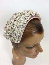Load image into Gallery viewer, Original 1950s Darling ' Marten' Hat - Made in A Dusky Pink with Ivory Florals and Soft Green Leaves