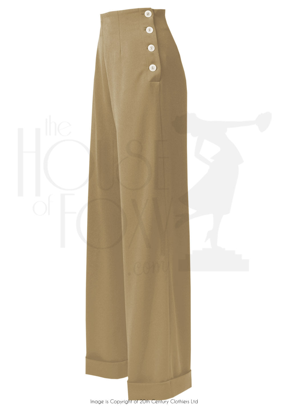 House of Foxy 1940s Swing Pants in Light Tan