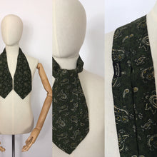 Load image into Gallery viewer, Original Men's ' All Silk' Cravat - In a Fabulous Forest Green with Cream and Yellow Paisley