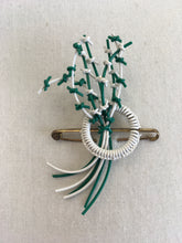 Load image into Gallery viewer, Original 1940's Make do And Mend Telephone Cord Brooch - In Jade Green & White