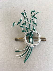 Original 1940's Make do And Mend Telephone Cord Brooch - In Jade Green & White