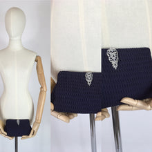 Load image into Gallery viewer, Original 1930s Midnight Blue Evening Bag - In a Pleated Crepe with Paste Clasp