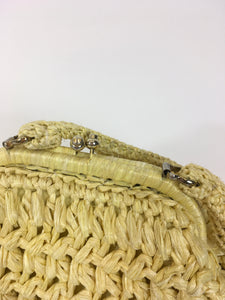 Original 1950's Darling Raffia Handbag - In Sunshine Yellow