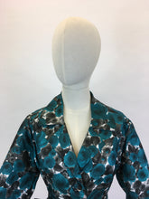 Load image into Gallery viewer, Original 1950's Floral Jacket & Belt Set - In A Bright Turquoise, White and Charcoal