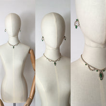 Load image into Gallery viewer, Original 1940's Costume Jewellery Set - Lovely Set in White & Green