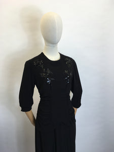Original 1940's Sequin Embelished Cocktail Dress - Feauturing Ruched Front Detailing