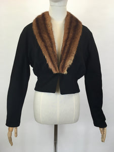 Original 1940's Black Woollen Fitted Jacket - With Mink Trim to the Leading Edge