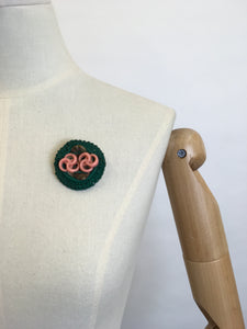 Original 1940's ' Make Do and Mend' Brooch - Pink & Green Telephone Wire