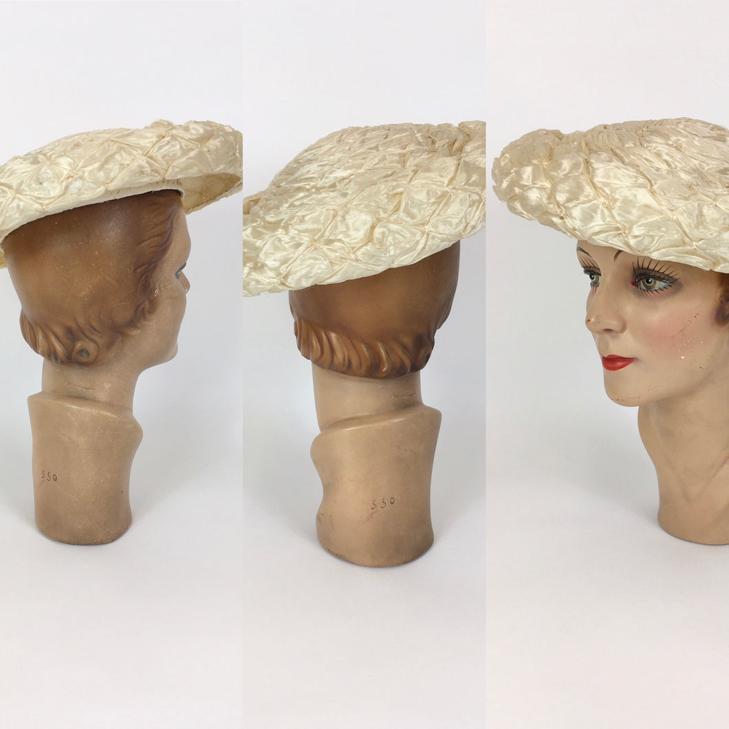 Original 1950's FABULOUS Soft Cream Raffia Platter Hat - With Structured Inner Band