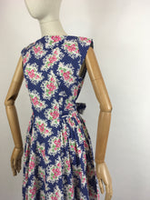 Load image into Gallery viewer, Original 1950s Darling Floral Day Dress - In a Beautiful Crisp Cotton in Rich Blue, Powder Pinks, White and Grassy Green.