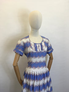 Original 1950s Cotton Day Dress - In a Beautiful Summer Colour Palette