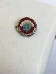 Original 1940's ' Make Do and Mend ' Brooch - Red, Cream, Blue Telephone Wire
