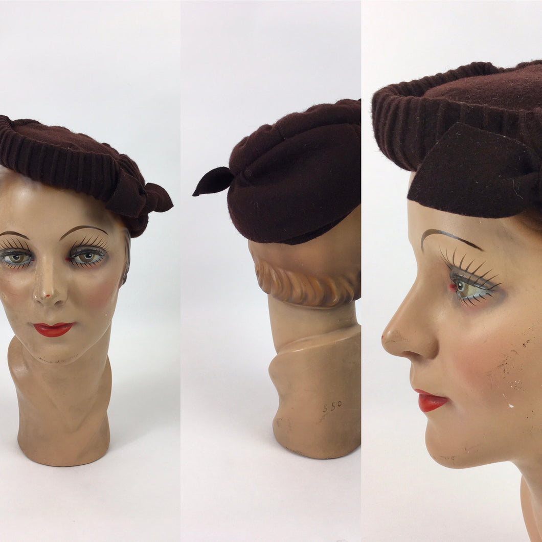 Original 1940's Brown Felt Topper Hat - With Back Band and Bow Detailing