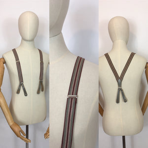 Original 1940s Mens Braces with Grey Leatherwork - In A Burgundy and Grey Stripe